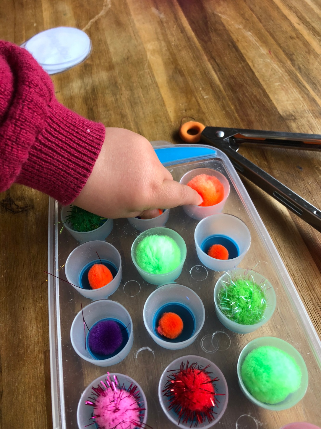 Pom Pom sorting with toddlers 7