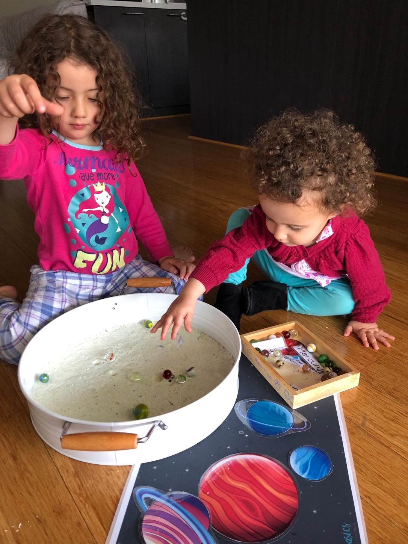 Toddler sensory play moon dust