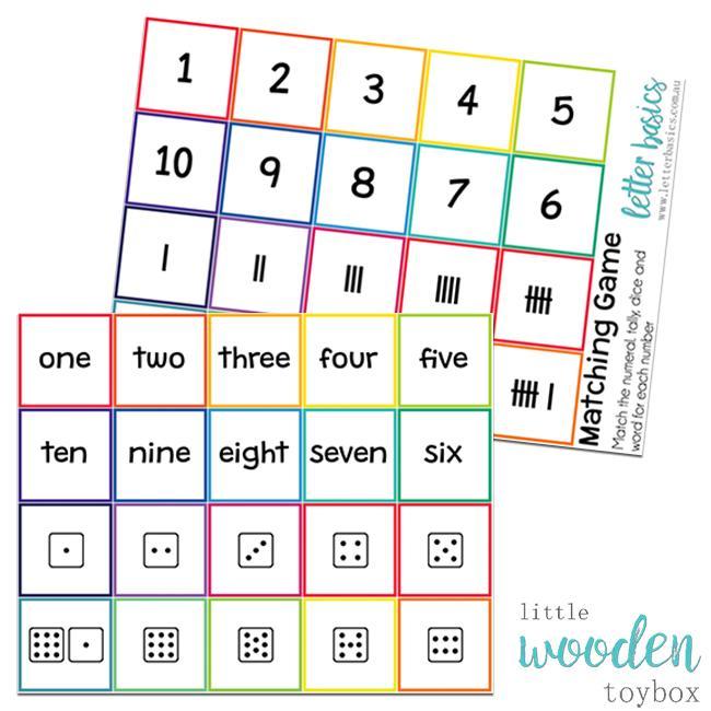 Letter Basics Number Matching Game